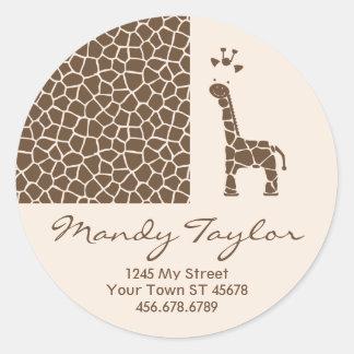 Giraffe Pattern Envelope Seal (Brown) Round Sticker