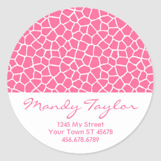 Giraffe Pattern Envelope Seal (Pink) Stickers
