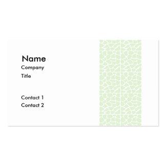 Giraffe Pattern. Mint Green. Pack Of Standard Business Cards