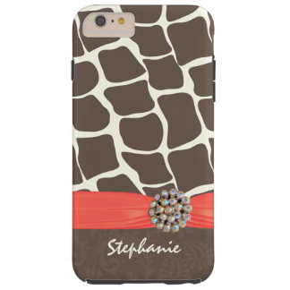 Giraffe Pattern Printed Ribbon and Rhinestone iPhone 6 Plus Case