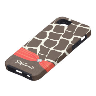 Giraffe Pattern Printed Ribbon and Rhinestone iPhone 5 Cover