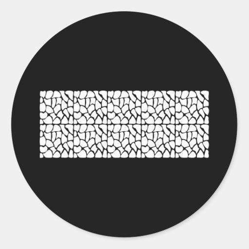 Giraffe Pattern. White and Black. Round Stickers