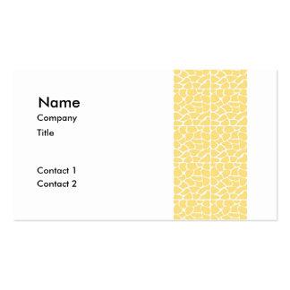 Giraffe Pattern. Yellow. Pack Of Standard Business Cards