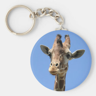 Giraffe Photo Wildlife Nature Button Keychain
