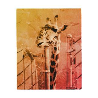 Giraffe Photograph Wood Wall Art