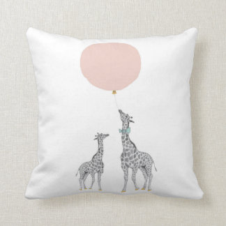 Giraffe & Pink Balloon Throw Cushion