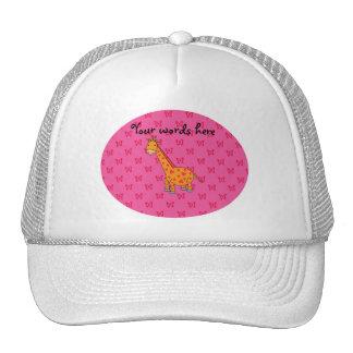 Giraffe pink butterflies trucker hat