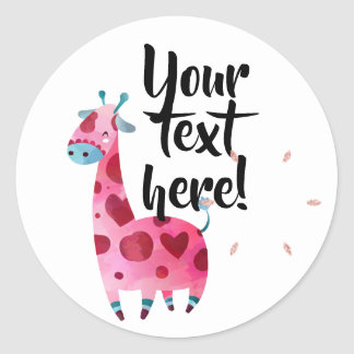 Giraffe pink themed party idea classic round sticker