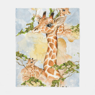 Giraffe Portrait Animal Picture Fleece Blanket