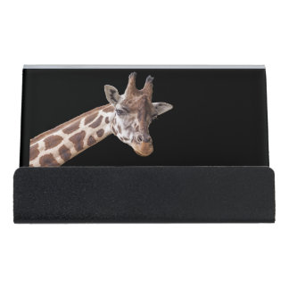 Giraffe Portrait on Black Desk Business Card Holder