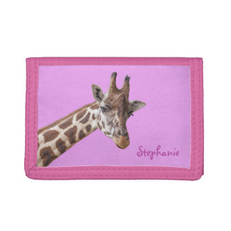 Giraffe Portrait on Lilac Personalized Girly Name Tri-fold Wallet