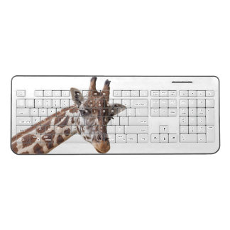 Giraffe Portrait on White Wireless Keyboard