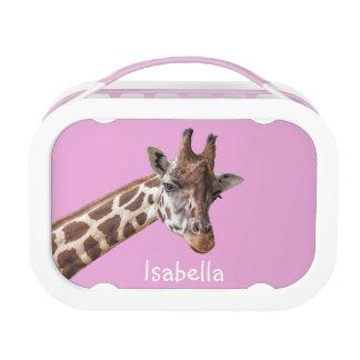 Giraffe Portrait Personalized Girly Name Lunchbox
