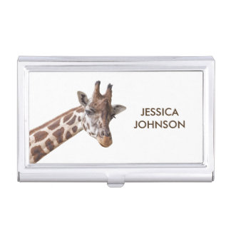 Giraffe Portrait Personalized Name Business Card Holder