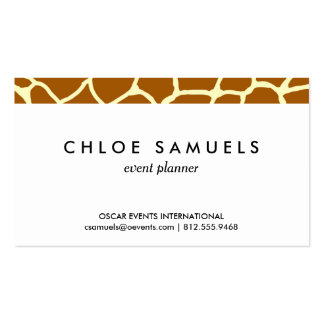 Giraffe Print Classic Brown Yellow Animal Pattern Pack Of Standard Business Cards