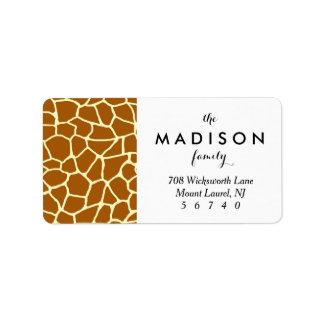 Giraffe Print Classic Brown Yellow Animal Pattern Label
