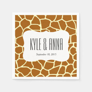 Giraffe Print Classic Brown Yellow Animal Pattern Paper Napkin