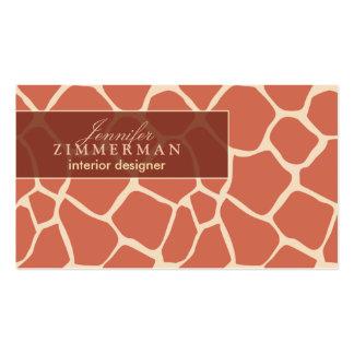Giraffe Print Designer Business Card :: Coral