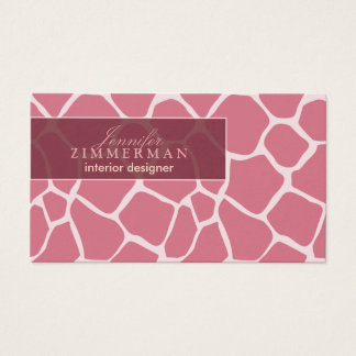 Giraffe Print Designer Business Card :: Pink