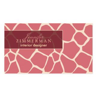 Giraffe Print Designer Business Card :: Pink