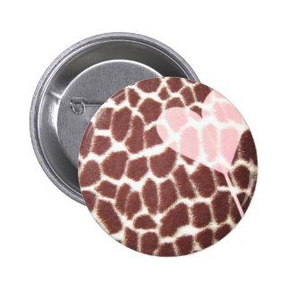 Giraffe Print Heart 6 Cm Round Badge