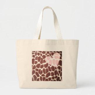 Giraffe Print Heart Jumbo Tote Bag