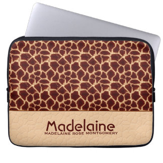 Giraffe Print in Rich Brown and Tan Hues Laptop Sleeve