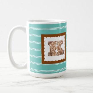 "Giraffe Print Letter ""K"" on Mint/White Pinstripes Coffee Mug"