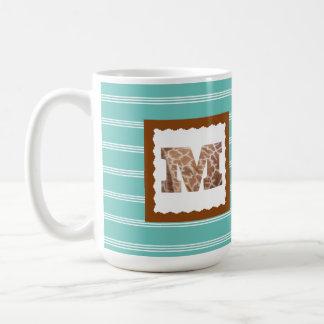 "Giraffe Print Letter ""M"" on Mint/White Pinstripes Coffee Mug"