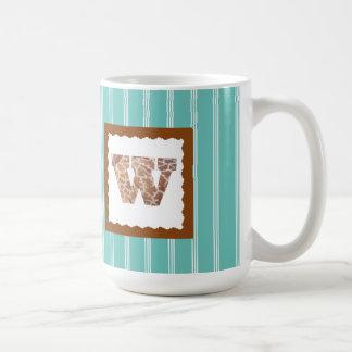 "Giraffe Print Letter ""W"" on Mint/White Pinstripes Coffee Mug"