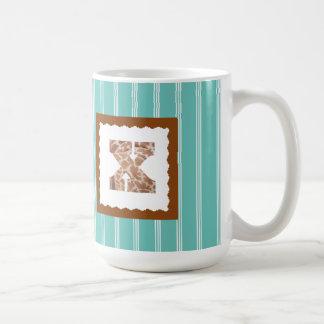 "Giraffe Print Letter ""X"" on Mint/White Pinstripes Coffee Mug"