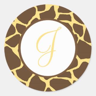 Giraffe Print Monogrammed Stickers