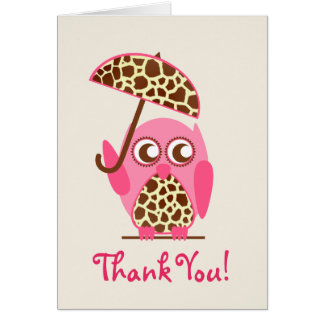 Giraffe Print Owl Baby Shower Thank You Card