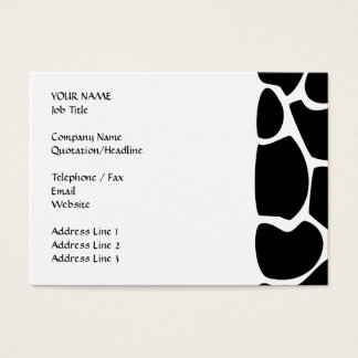 Giraffe Print Pattern. Animal Print Design, Black Business Card