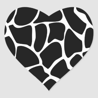 Giraffe Print Pattern. Animal Print Design, Black Heart Sticker