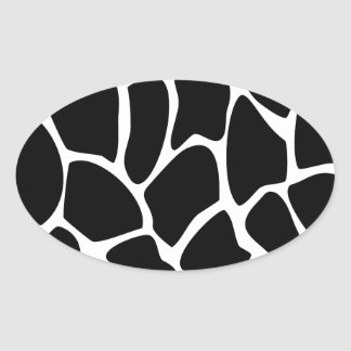 Giraffe Print Pattern. Animal Print Design, Black Oval Sticker