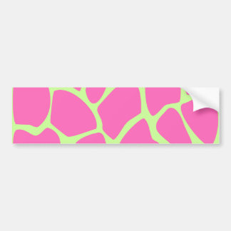 Giraffe Print Pattern Bright Pink and Lime Green Bumper Stickers