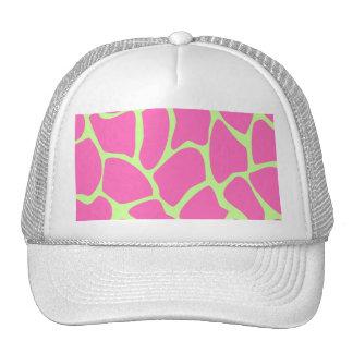 Giraffe Print Pattern, Bright Pink and Lime Green Mesh Hat