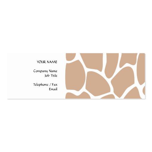 Giraffe Print Pattern in Beige. Business Card Template