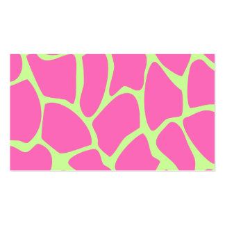 Giraffe Print Pattern in Bright Pink and Green. Double-Sided Standard Business Cards (Pack Of 100)