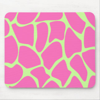 Giraffe Print Pattern in Bright Pink and Green. Mouse Pad
