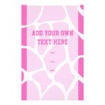 Giraffe Print Pattern in Bright Pink. Personalised Flyer