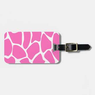 Giraffe Print Pattern in Bright Pink. Luggage Tags