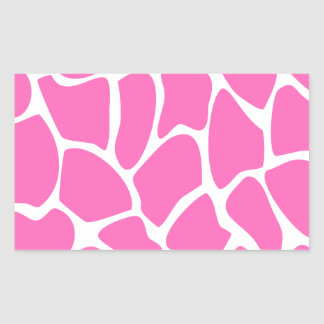 Giraffe Print Pattern in Bright Pink. Rectangular Sticker