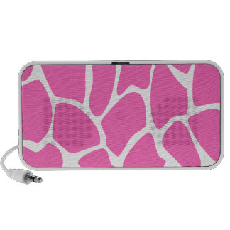 Giraffe Print Pattern in Bright Pink. Laptop Speakers