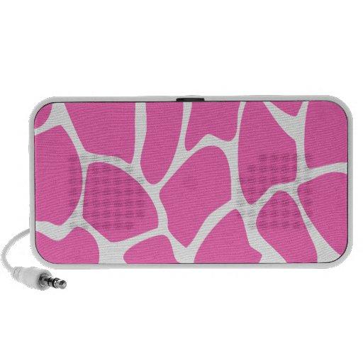 Giraffe Print Pattern in Bright Pink. Laptop Speakers