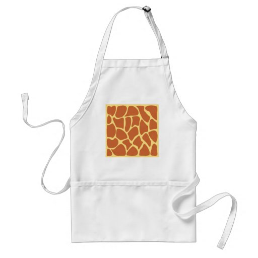 Giraffe Print Pattern in Brown and Yellow. Aprons
