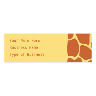 Giraffe Print Pattern in Brown and Yellow. Double-Sided Mini Business Cards (Pack Of 20)