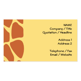 Giraffe Print Pattern in Brown and Yellow. Double-Sided Standard Business Cards (Pack Of 100)