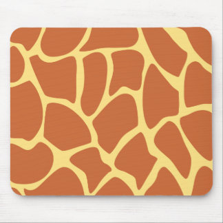 Giraffe Print Pattern in Brown and Yellow Mouse Pads
